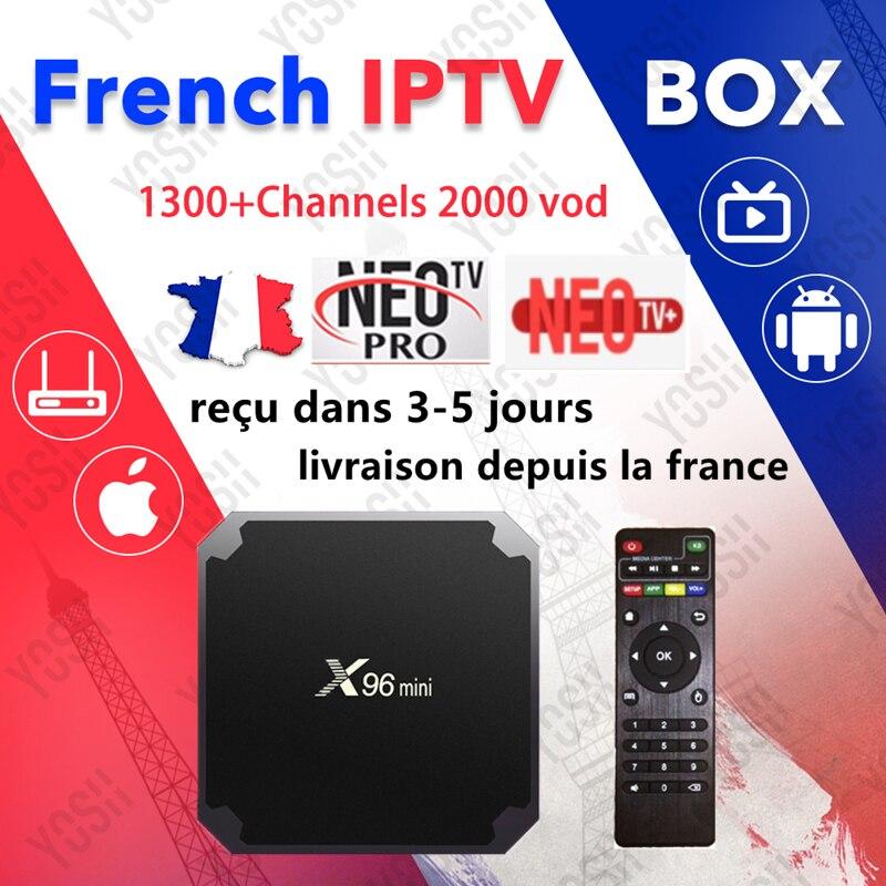 Iptv France X96 Mini Android Smart Tv Box 1300+live 1 Year Neo Tv Pro Code M3u Europe French Belgium Arabic Iptv Set Top Tv Box