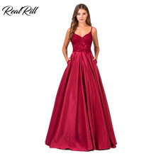 Real Rill Burgundy Spaghetti Straps Evening Dress 2019 V-Neck Zipper Up Back Satin A Line Floor Length Gown