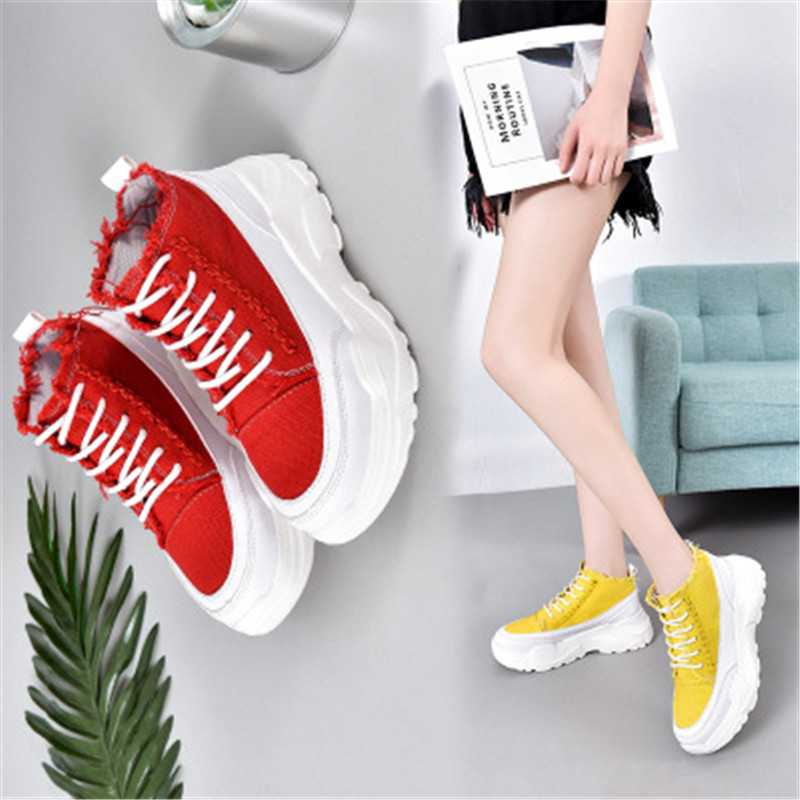2019 New Wedges Canvas Shoes Woman Platform Vulcanized Shoes Height Increasing Casual Shoes female High-top Sneakers M4-32