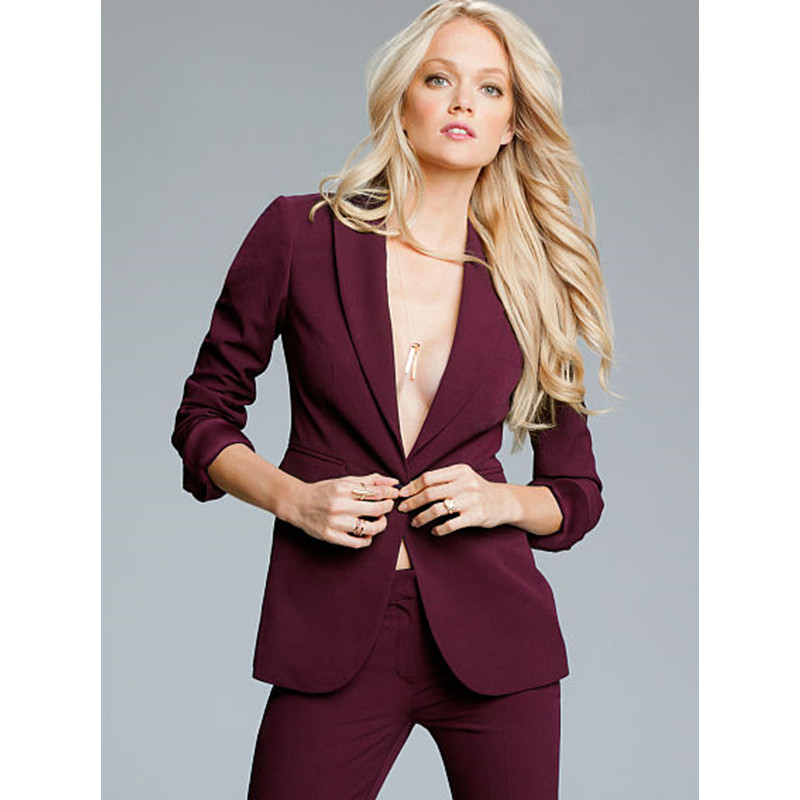 Custom Made Autumn Winter Professional Formal Pantsuits Ladies Women Business Suits Women Suits 2 Pieces (Jackets+Pants)