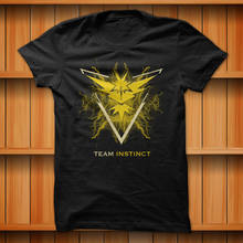 Team Instinct Pokemon Go Yellow Lightning T-Shirt Black 100% Cotton S-XL Size(China)
