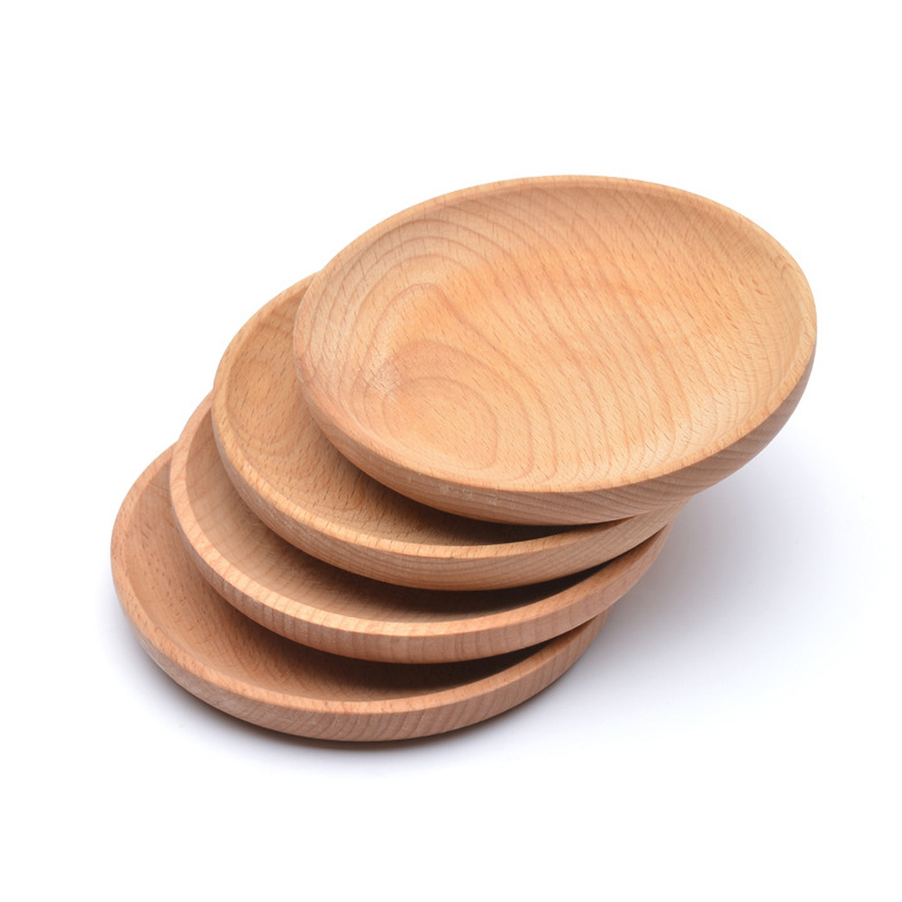 Home Accessories Eco-friendly Snack Plate Round Wooden Cake Dish Home Dessert Service Tray Wood Board Party Tableware Cutlery