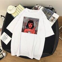 Camiseta feminina anjo proteger-me do meu diabo impressão oversized tshirt harajuku manga curta vintage t-shirts topo verão feminino