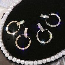 Modyle Big Round Geometric CZ Stone Drop Earrings For Women Crystal Luxury Wedding Rhinestone Earring graceful rhinestone geometric drop earrings