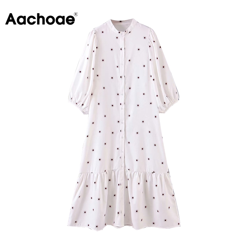 Aachoae Women Loose Print White Dress O Neck Lantern Half Sleeve Casual Midi Dress Female Plus Size Lady Pleated Dresses Vestido