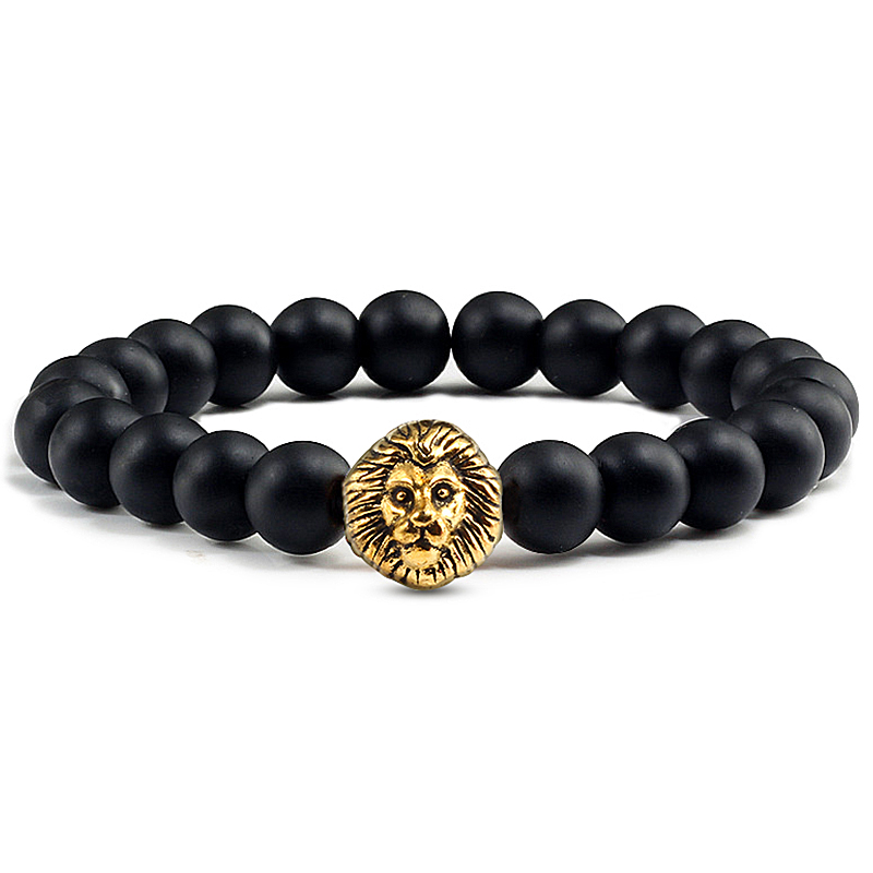 Classic Lion Head Charm Bracelet Men Fashion 8mm Natural Lava Stone Handmade Beaded Bracelets For Women Elastic Jewelry Pulsera