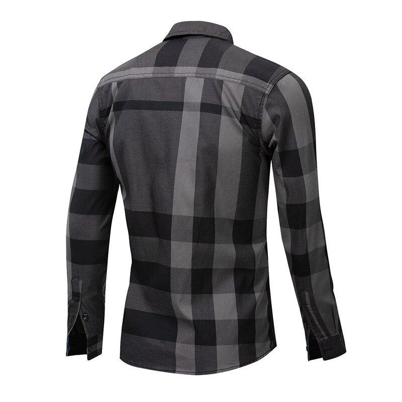Men Shirt Long Sleeve Casual Vertical Plaid Shirts Mens Chemise Homme 2020 Long Sleeve Casual Slim Fit Shirts 100% Cotton Shirts 5