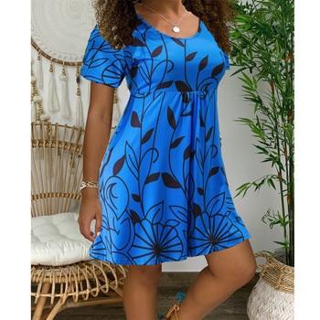 2020 New Summer Dresses Women Casual Short Sleeve O-Neck Print A-line Dress Large Size Streetwear Sundress Loose Dress Vestidos - Myh006 Blue, XXXL