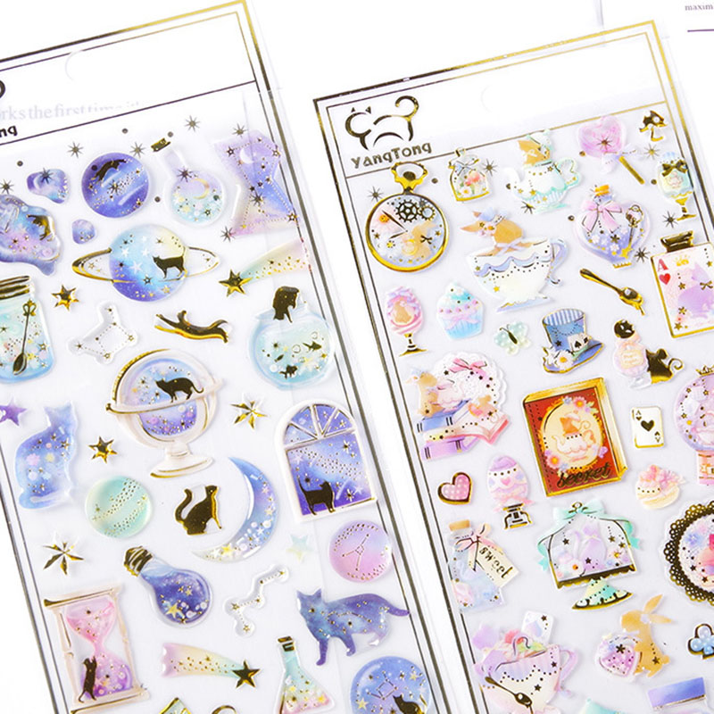 Cute Cat Planet Stickers Kawaii Crystal Stickers Acrylic Decoration Stickers Kids DIY Diary Scrapbooking Stationery