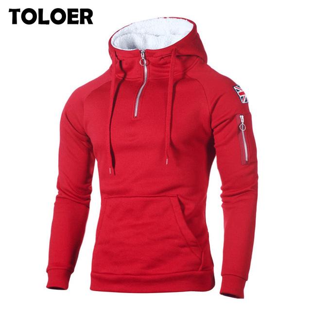 Hip Hop Zipper Hooded Sweatshirt Men 2020 Spring Casual Flag Print Pullover Hoodies Sweatshirts Male Solid Streetswear Red Black