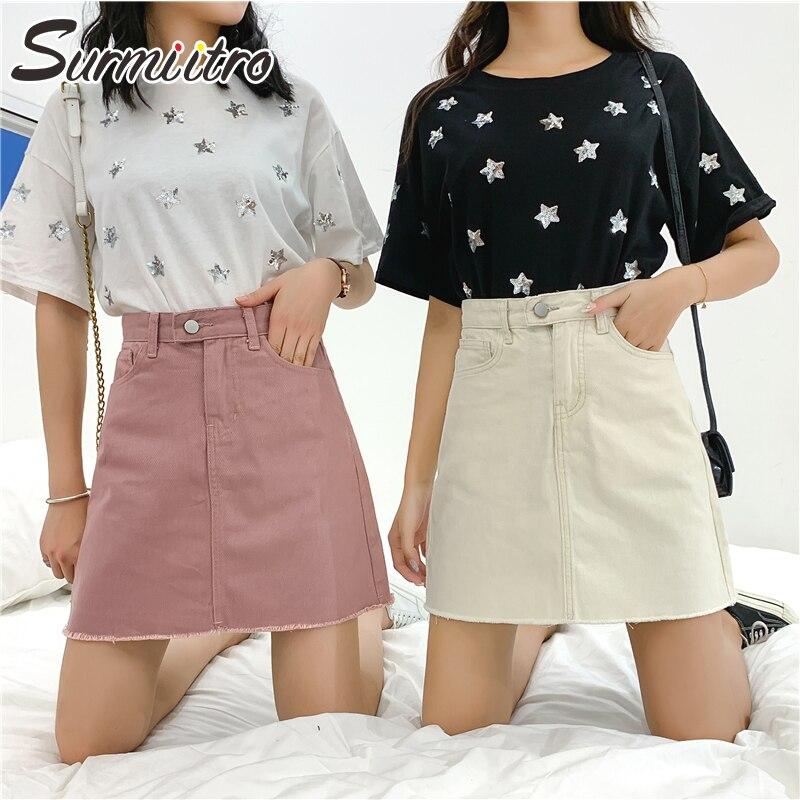 Surmiitro Plus Size 5XL Mini Denim Skirt Women 2020 Spring Summer Pink White Black High Waist A Line Skirt Female