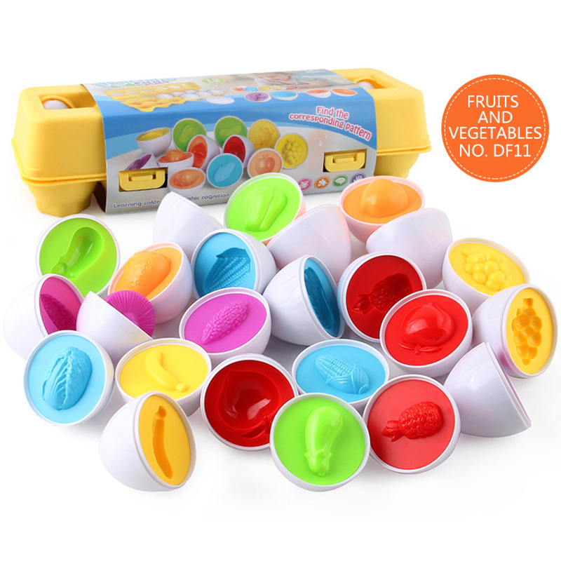 12PCS Montessori Learning Education Math Toys Smart Eggs 3D Puzzle Game For Children Popular Toys Jigsaw Mixed Shape Tools 5