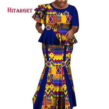 African Fashion Print Patchwork Top and Skirt Sets for Women Vestidos Long Skirt Bazin Riche Traditional African Clothing WY6678