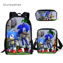 ELVISWORDS Fashion 3PCs Set Backpack The Sonic Pattern kids School Bags Cartoon Students Book Bag Backpack/Flaps Bag/Pen