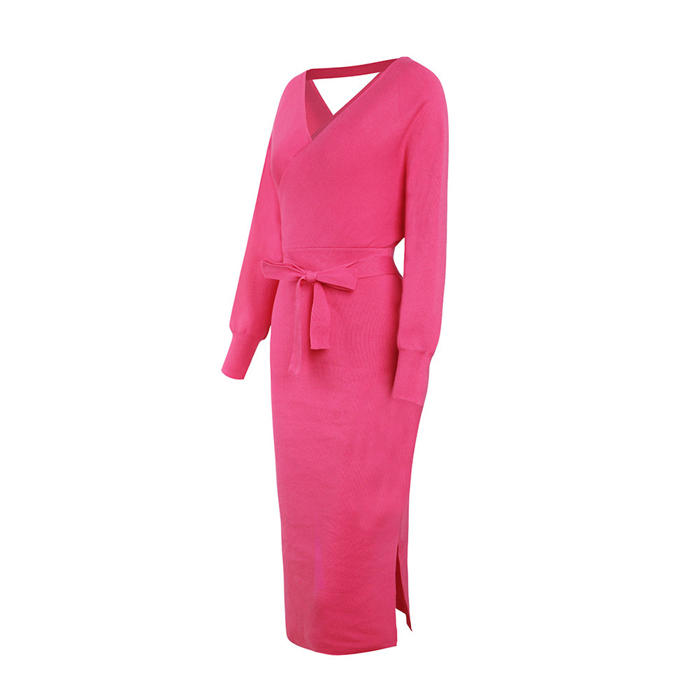 Long Sleeve V Neck With Cross Belt Sweater Knitted Dress 5