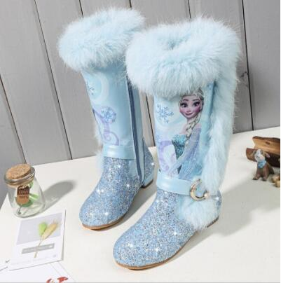 Girls Fashion Elsa Boots Kids Princess PU Leather Water-proof Children Warm Cotton Boots Kids Big Girls Boot