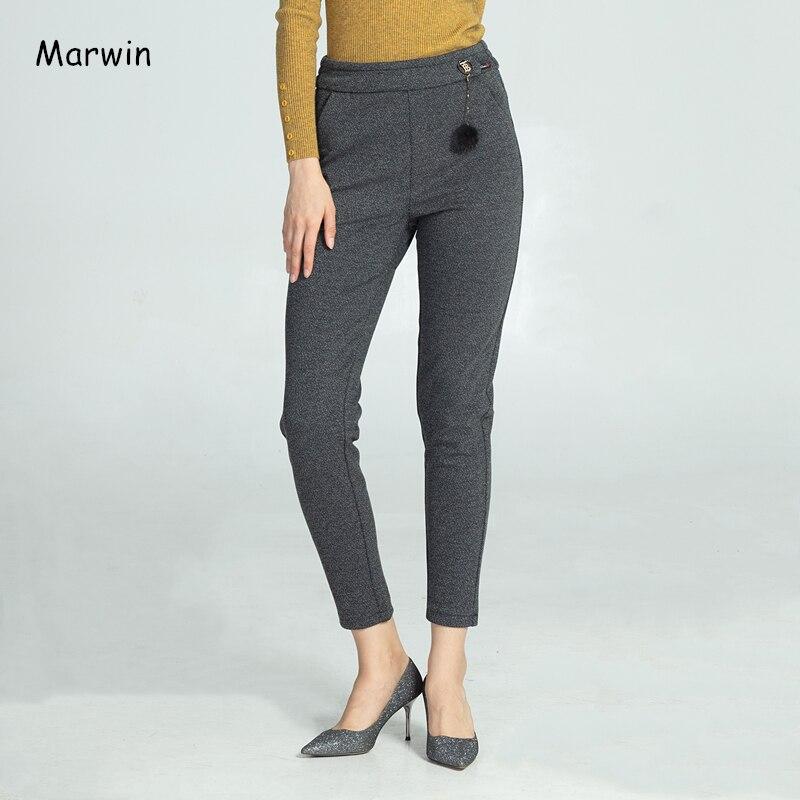 Marwin, зимние плотные штаны в тонкую полоску, модная одежда для отдыха, брюки с высокой талией, повседневные эластичные теплые мягкие женские ...
