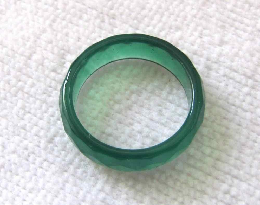 แหวน FINE สีเขียวธรรมชาติมือแกะสลักนิลแหวนหยกขนาด 7-8.5 # หินธรรมชาติ