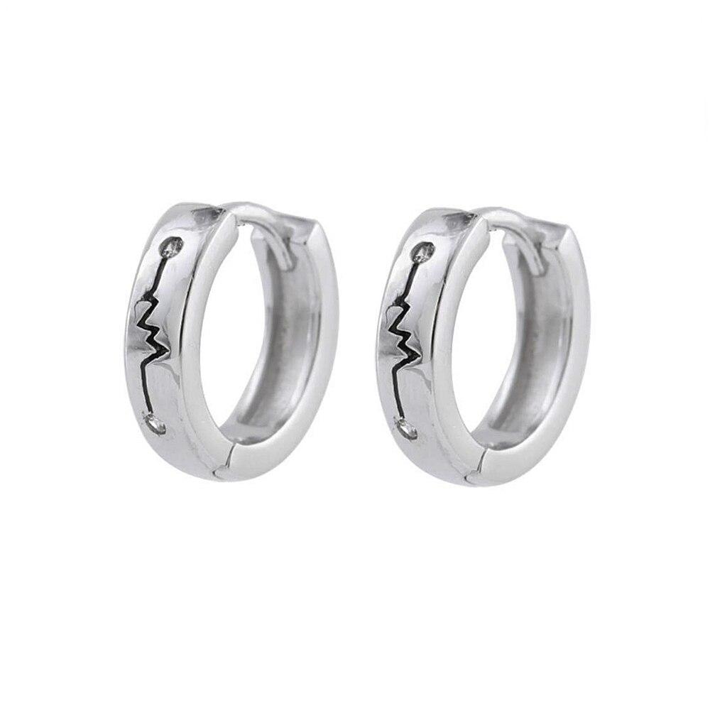 925 Sterling Silver Men Biker Chain Lock Post Stud SINGLE Earring A1279
