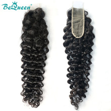Lace Closure Deep-Wave Swiss Natural-Color Brazilian 100%Virgin-Hair Bequeen Pre-Plucked