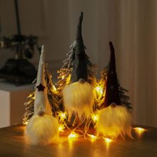 Christmas Drop Pendant LED Lighting Gnome Doll with Long Cone Hat Indoor Holiday Night Glowing Light DecorationCMMA