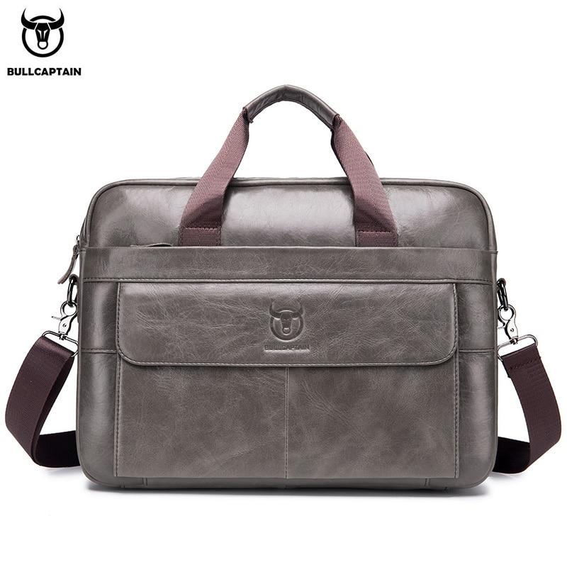BULLCAPTIAN First Layer Cowhide Laptop Bag 14 Inch Leather Shoulder Bag Business Briefcase Handbag Bag Work Bag Men's Briefcase