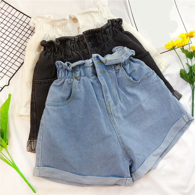 Women High-waisted Shorts Loose Casual Ruffles Denim Short Jeans Women Summer Wide Leg Light Blue Elastic Waist Denim Shorts