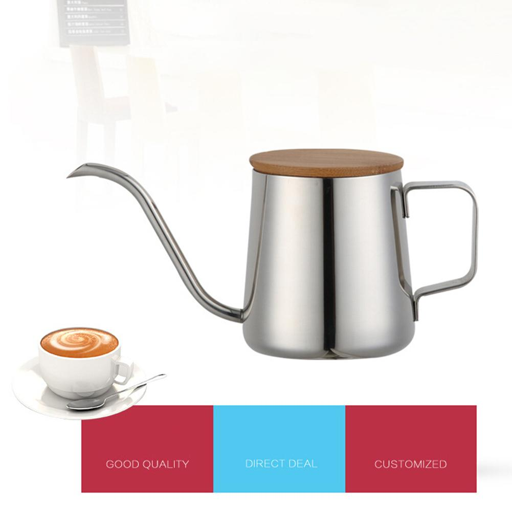 350 мл кофейники из нержавеющей стали длинный узкий носик чайник с носиком заварник для кофе, чая деревянная крышка горшок для заваривания ко...