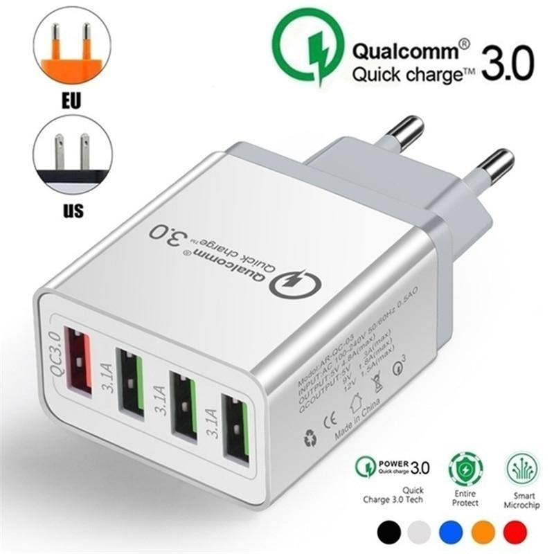 4USB Qc 4,0 Qualcomm Быстрая зарядка 4 3,0 A USB Быстрая Зарядка адаптер питания для Samsung IPhone HTC 4 порта зарядное устройство для телефона ЕС США