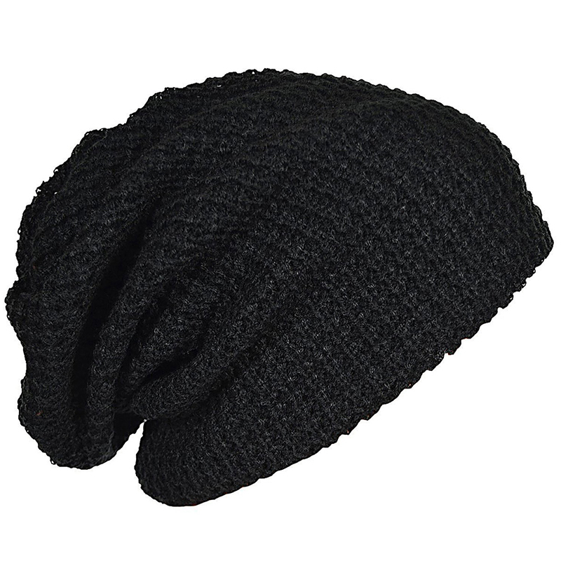 Mens Slouchy Long Beanie Knit Cap For Summer Winter Oversize Black