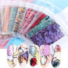 15 sztuk Abalone Shell zestaw naklejek paznokci 3D kolorowe Gradient laserowy suwak płatek brokat holograficzny Manicure dekoracje BE747 1