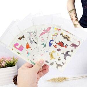 2 шт., наклейки для тату, милые, водонепроницаемые, поддельные, животные, динозавры, Временные татуировки, наклейки, большой цветок, ногти, кон...