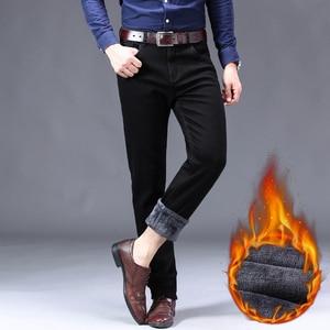 Image 5 - 2019冬の新メンズ暖かい黒ジーンズクラシックスタイルビジネスファッションスリムフィットストレッチデニムズボン男性ブランド厚いパンツ