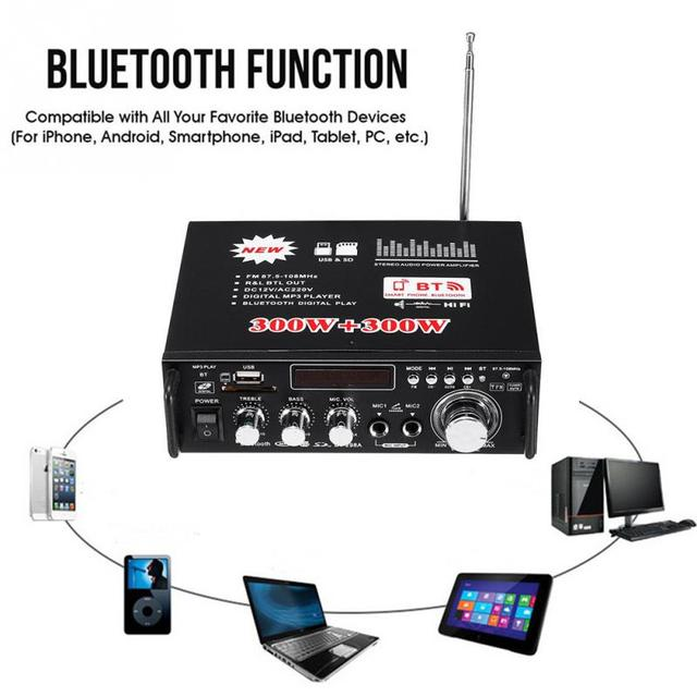 300W+300W Bluetooth Home/Car Amplifier Car HIFI 220V 12V CH2.0 Stereo Audio Digital Pre-Amp Amplifier Durable Easy Use Black 1