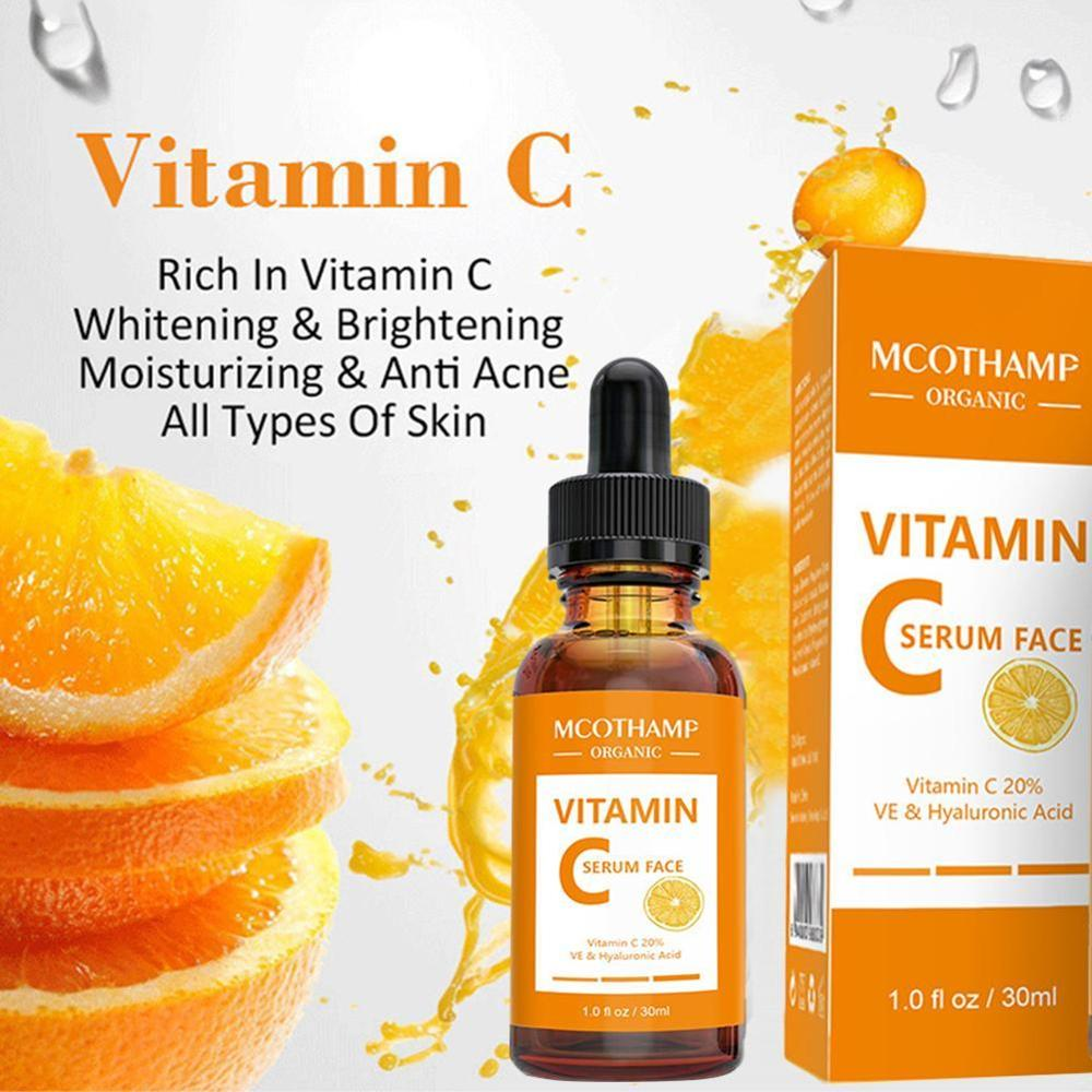 30ML Pure Vitamin C Serum Liquid Freckle Removal Acne Scars Hyaluronic Acid Anti-wrinkle Vc Face Serum Fade Dark Spot