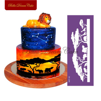 цена на Jungle Animal Forest Lion Elephant Mesh Stencil Fondant Lace Mold Cake Stencil Cake Decorating Tools Wedding Cake Decor Mold