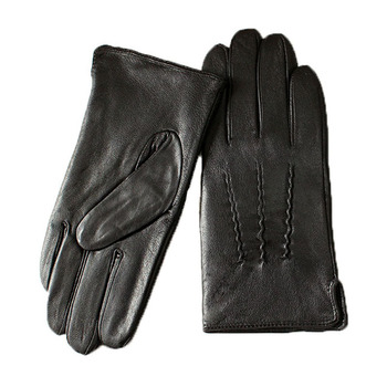 Leather Gloves Male Sheepskin Straight Button Style Thin Velvet Lining Warm Fall Winter Men's leather split image