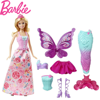 Original Barbie Fairytale Dress Up Doll Mermaid Girl Toys Gift Set Birthday Christmas Present Toys Gift For Children DHC39 nk one set original princess doll dress noble party gown for barbie doll fashion design outfit best gift for girl doll