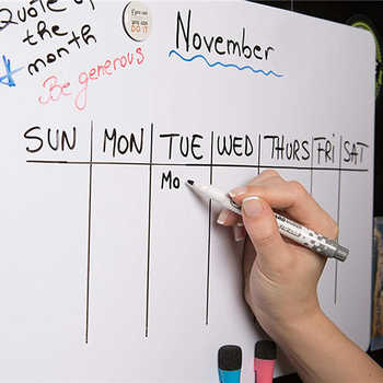 Monthly Weekly Planner and Whiteboard 2PCS A3 Size Magnetic Dry Erase Fridge Sticker Calendar Table Recipe Plan Message Board