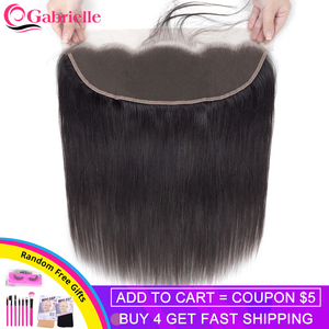 Gabrielle Brazilian Straight Hair 13x4 Lace Frontal Closure Natural Color Remy Human Hair 8-22 inch Free/Middle/Three Part(China)