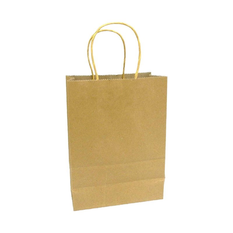 20 X Brown Paper Bags With Handles - Party And Birthday Gift A Handy Bag( 15cm X 21cm X 8cm)