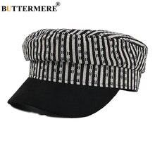 Винтажная военная шапка buttermere женская черная полосатая