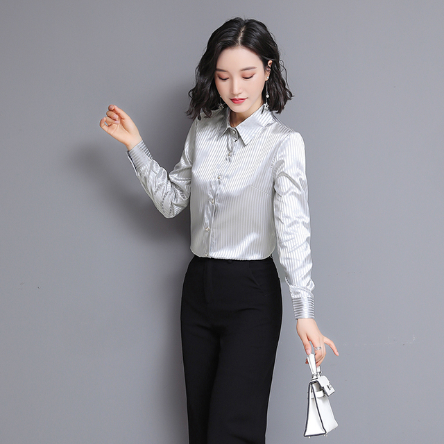 Chikichi 2021 Spring New Ladies Satin Women Shirt Long-sleeved Solid Color Striped Fashion Office Ladies Blouse Plus Size 4XL 3