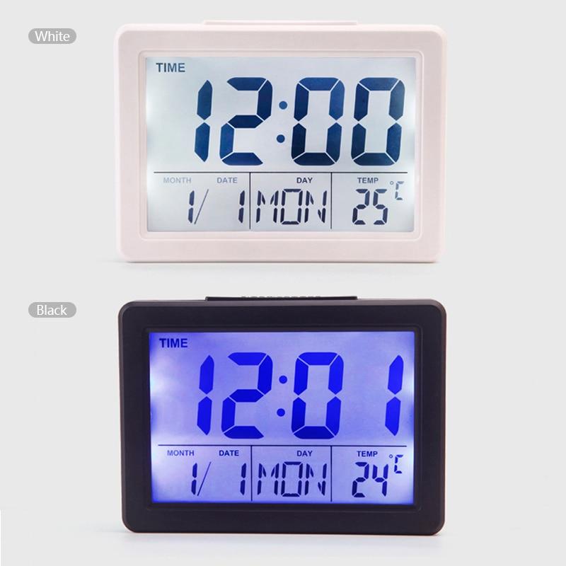Sound Control LED Alarm Clock Electronic Clock Large LCD Screen Digital Perpetual Calendar Temperature Display Night light 1PC