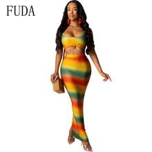 FUDA Women New Summer Tie Dye Print Sexy Night Club Party 2 Pieces Sets Bodycon Dress Sleeveless Hollow Out Slim Maxi