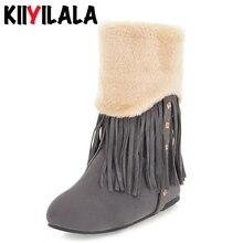 Kiiyilala Nubuck Slip-on Snow Boots Women Shoes Ladies Short Plush Female Winter Shoes Rivet Fringe Flat-soled Woman Ankle Boots