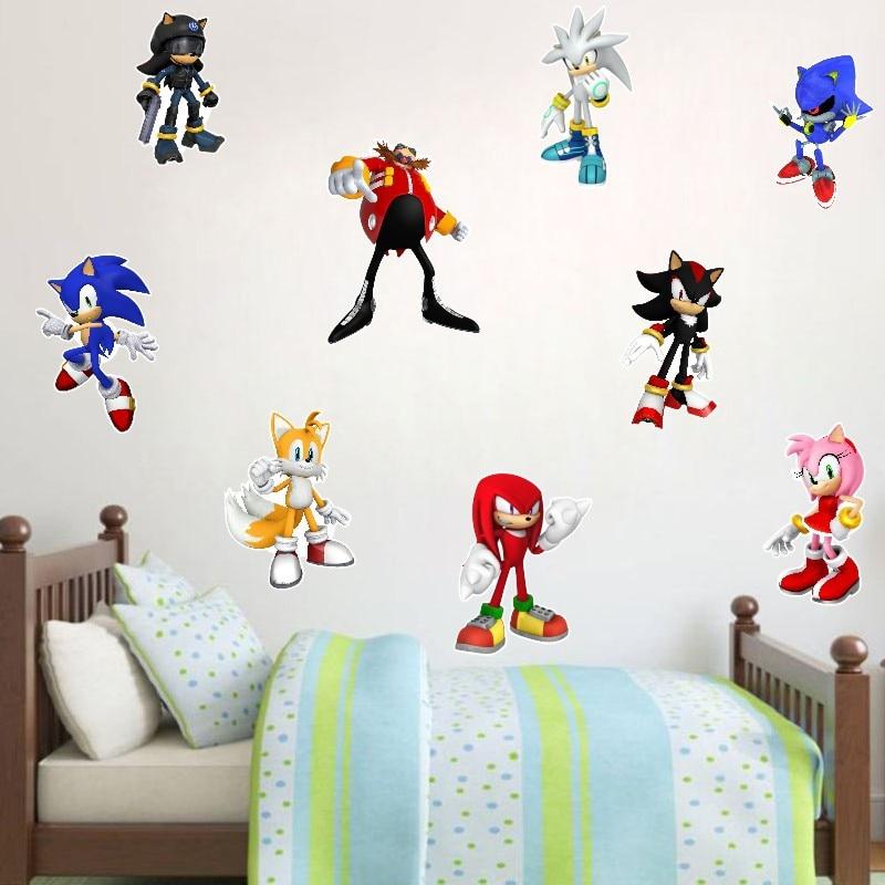 Sonic The Hedgehog Cartoon Wall Sticker For Children Kids Bedroom Decoration Sonci Window Wall Stickers Wall Decals Home Decor Wall Stickers Aliexpress