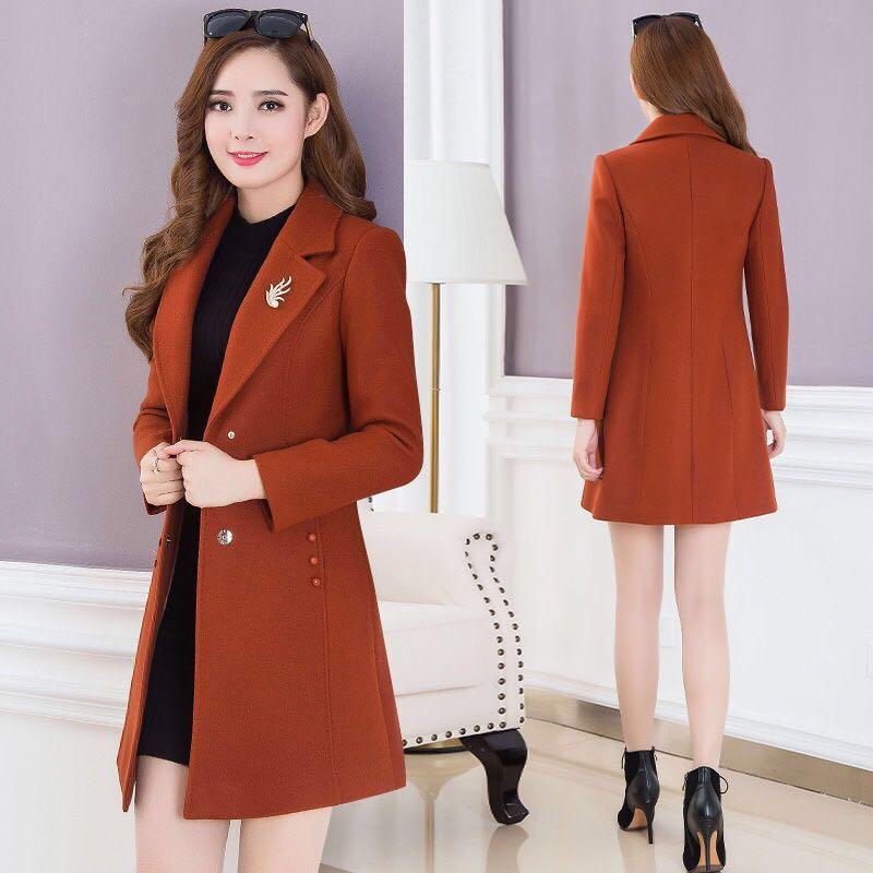 WERTUIOP Autumn And Winter Woolen Coat Female Jacket Long Slim Plus Cotton 2019 New Woolen Jacket Women Outerwear Lady Clothing