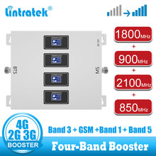 lintratek 4 Band Mobile phone signal booster amplifier 850 900 1800 2100 2G 3G 4G Signal amplifier LTE DCS WCDMA 3G 4G repeater wifi repeater router repetidor wifi extender mobile phone signal booster amplifier 2g 3g 4g call signal cell phone access point