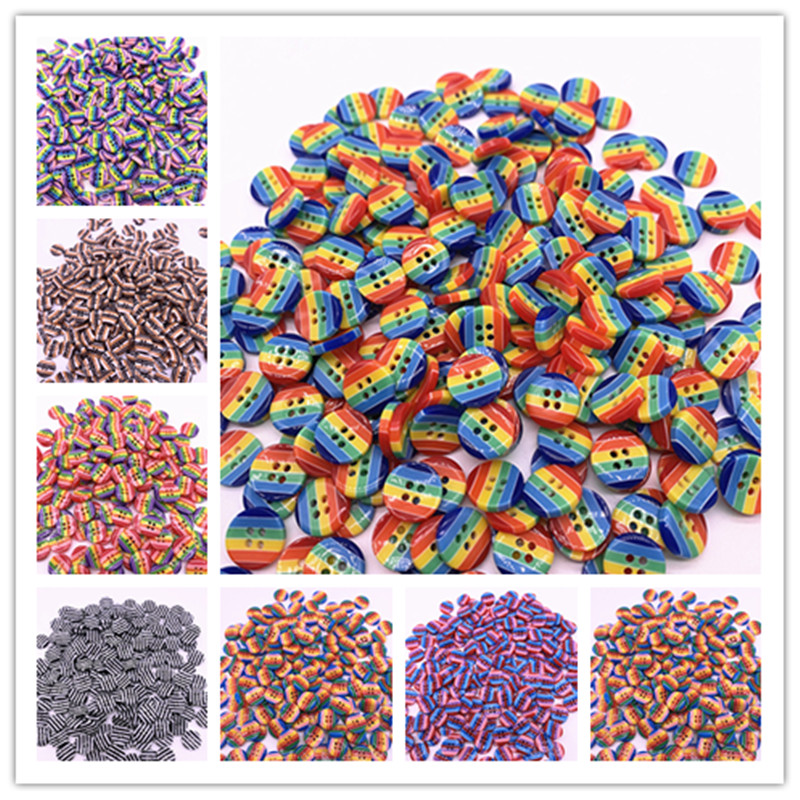 Wholesale15pcs 12mm 4 Holes Round Resin Sewing Buttons Diy Scrapbooking Multicolour